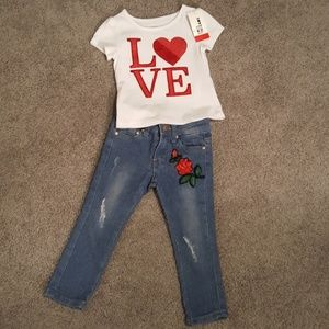 Stretch Jeans w/Rose/cherry Patches & NWT LOVE Top